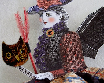 Witch Paper Doll Halloween Party Decoration - INSTANT Download - With Bat Wings, Broom And Embellishments HP19 H