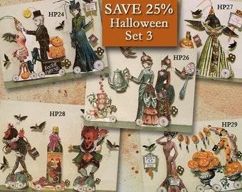 Tabletop Halloween Paper Doll Printables - Articulated Doll - Gothic Art Doll - Whimsical Steampunk Halloween Victorian Paper Dolls HP30H