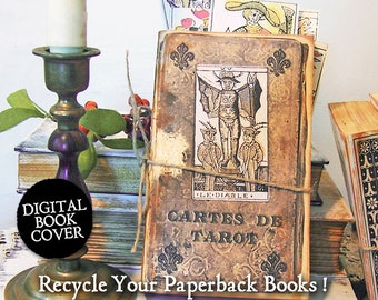 Halloween Clip Art  - Printable Journal Pages - Vintage Digital Book Cover Download - Tarot Cards  CS87HP