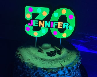 Glow Party Cake Topper, Neon Cake Topper, Birthday Cake Decor, Personalized Topper, Name Topper, Age Topper, Glow Party Decorations