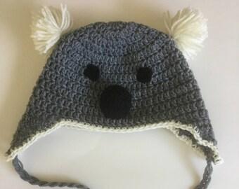 Crochet Koala Earflap Hat