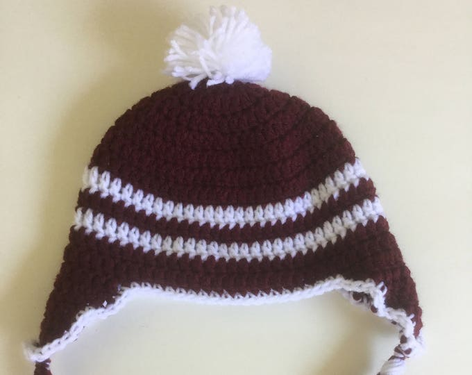 Crochet Burgundy and White Striped Earflap Hat