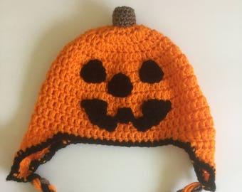 Crochet Jack o' Lantern Earflap Hat