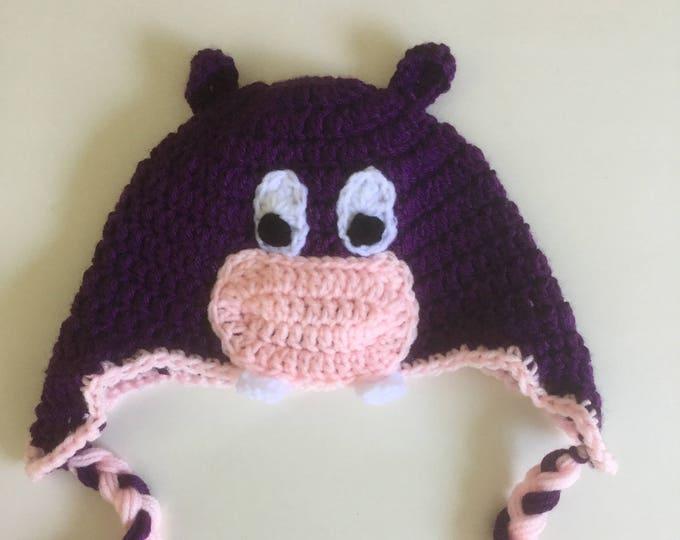 Crochet Purple Hippo Earflap Hat