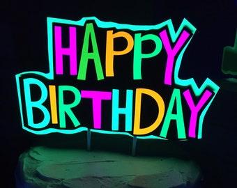 Glow Party Cake Topper, Neon Birthday Cake Topper, Personalized Cake Topper, UV Reflective Cake Decoration, Fluorescent Neon Cake Decor