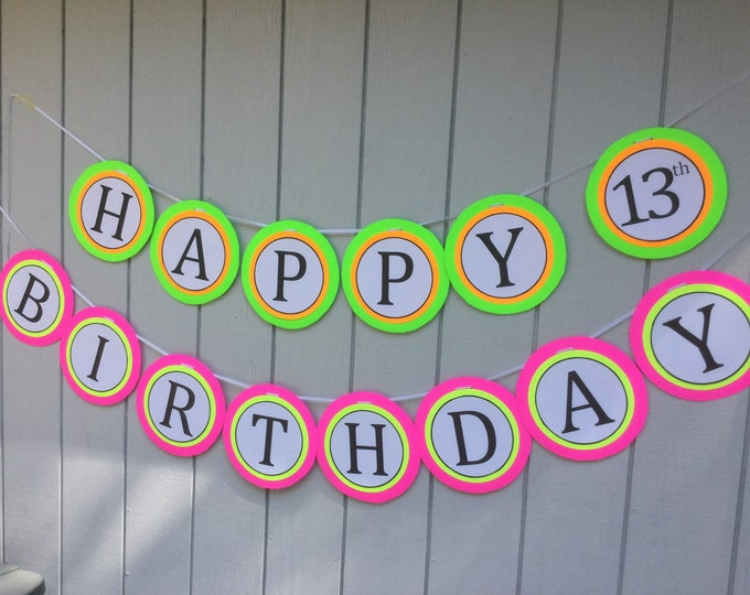Jumbo-Sized Black Light Party HAPPY BIRTHDAY Banner