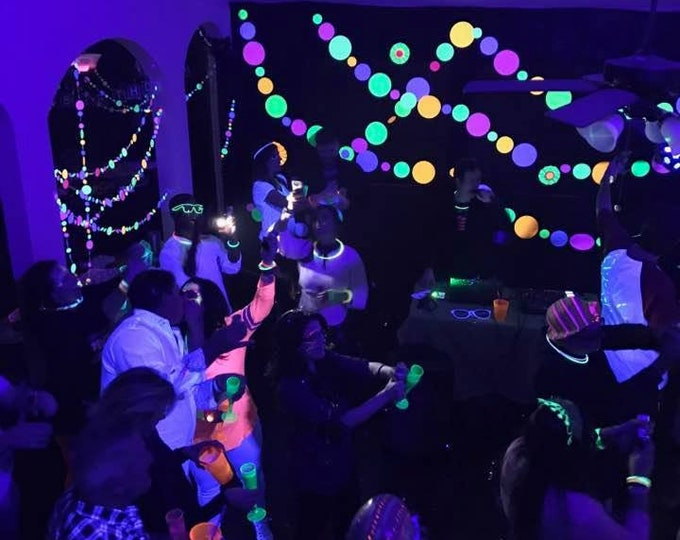 Glow Party Decorations / Large Jumbo Black Light Party Garland