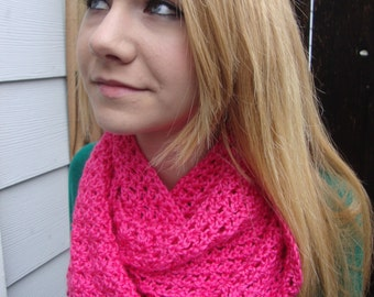 Hot pink crocheted scarf