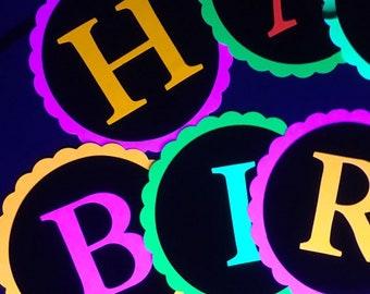 Glow Party Neon Black Light HAPPY BIRTHDAY banner
