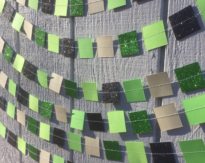 Square Party Garland Decoration with Glitter -- Video Game, Minecraft-like Pixels