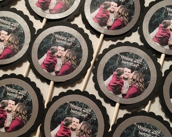 Custom Photo Cupcake Toppers or Tags for Birthdays, Retirement, Anniversaries, or Graduation