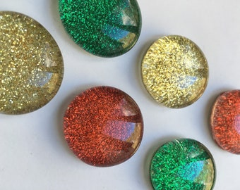 Holiday Sparkle Red, Green, and Gold Glitter Magnets --Set of Six
