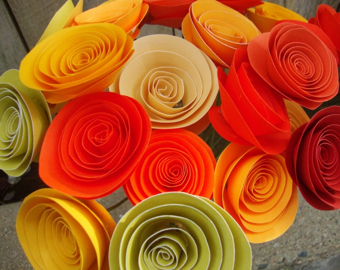Shades of autumn rolled paper flower bouquet of 24