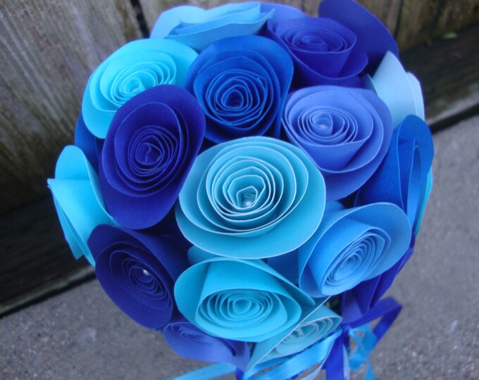 Blue rolled paper flower birthday/get well/graduation bouquet