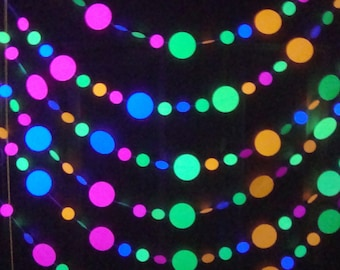 Neon garlands for black light party