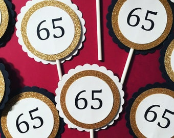 Glitter Cupcake Toppers for a Milestone birthday
