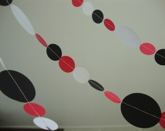 Red, White, and Black Garland for Graduation, Birthday, Ladybug Theme Party or Use Custom Colors