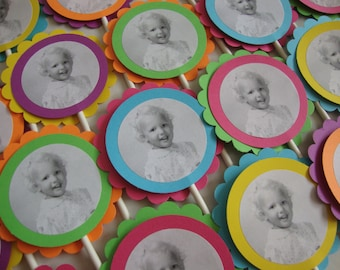Custom photo party tags and cupcake toppers