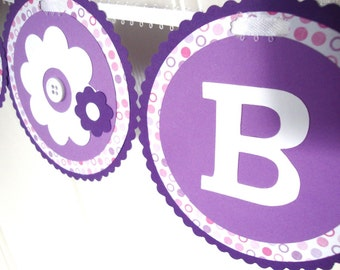 Purple and Pink floral birthday banner