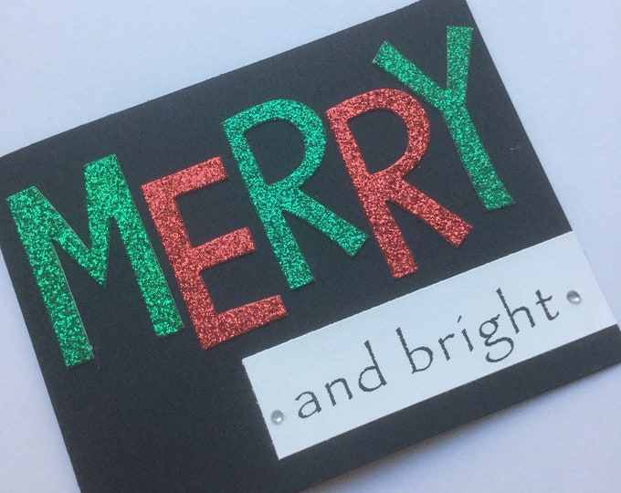 Merry and bright green and red glitter Christmas card