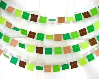 Square Party Garland Decoration -- Video Game, Minecraft-like Pixels