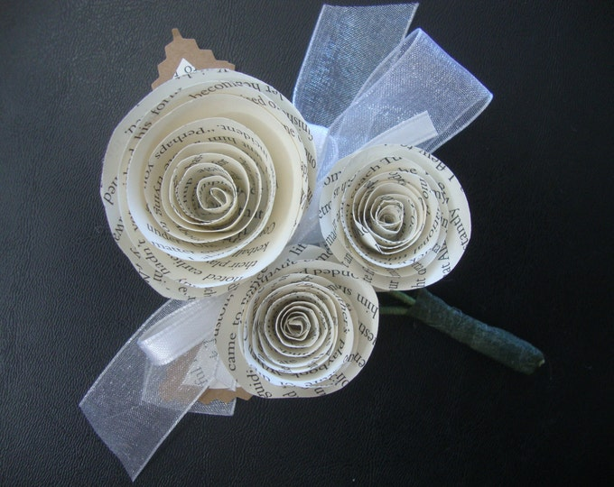 Rustic wedding book-page boutonniere