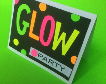 Glow Party Invitation with your Custom Information (envelope included)