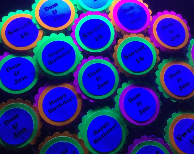 Black light/neon party tags and cupcake toppers