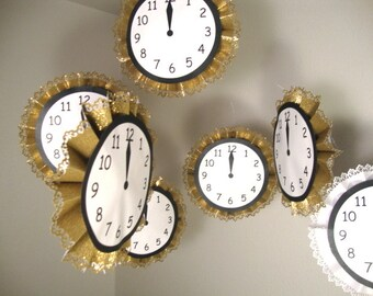 "New Year's Eve 12"" Hanging Glitter Clock Decorations"
