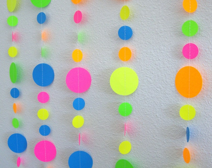 Glow Party Decorations / Neon garlands for black light party (blue added instead of white)