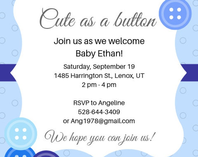 Cute as a Button baby shower invitation digital file to download