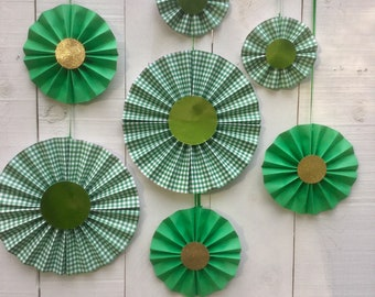 St. Patrick's Day Green and Gold Paper Medallions for Backdrop or Photo booth