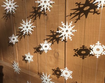 5-strands glitter double-sided snowflake garland