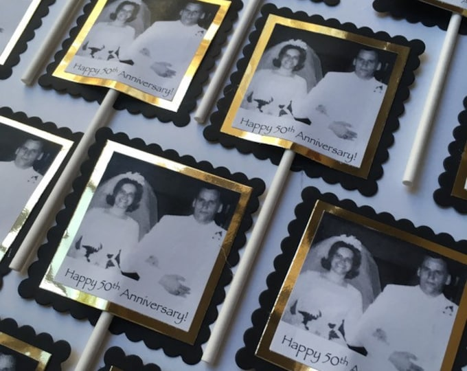 Custom square photo cupcake toppers for silver or golden anniversary