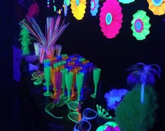 Glow Party Decorations / Black light neon paper rosette medallions