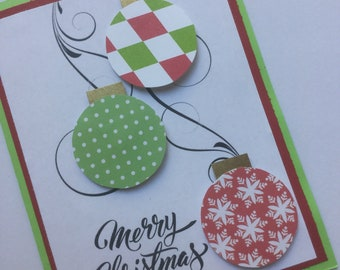 Merry Christmas lime green and red ornament greeting card