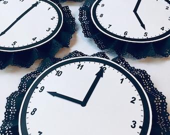 Around the clock baby/wedding shower set of 7 clocks
