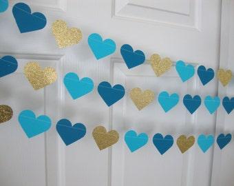Glitter/metallic heart garland