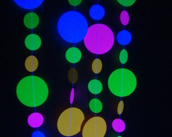 Glow in the Dark | Neon Garlands | 3-foot long Black Light Party Garland Decorations