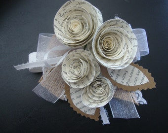 Rustic wedding book-page corsage