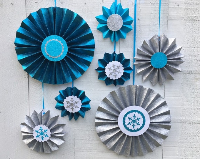 Frozen-theme glitter paper rosette backdrop