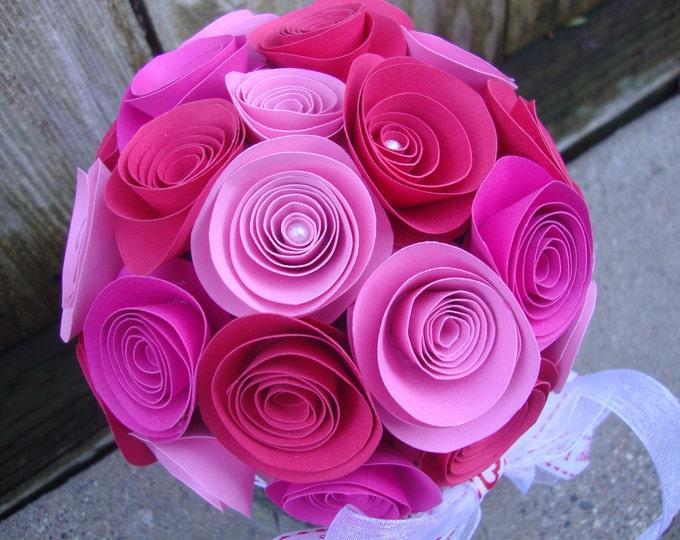 Rolled paper flower Valentine's Day bouquet