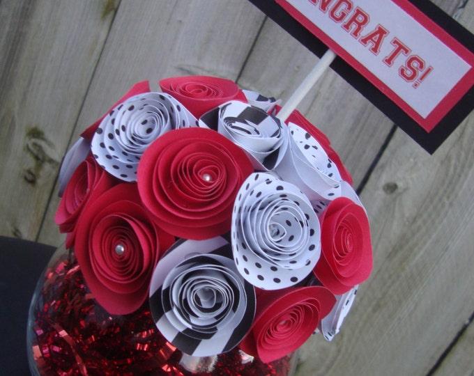 Rolled paper flower graduation bouquet