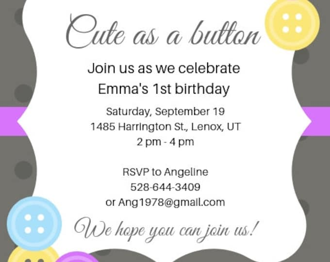 Cute as a Button birthday invitation digital file to download