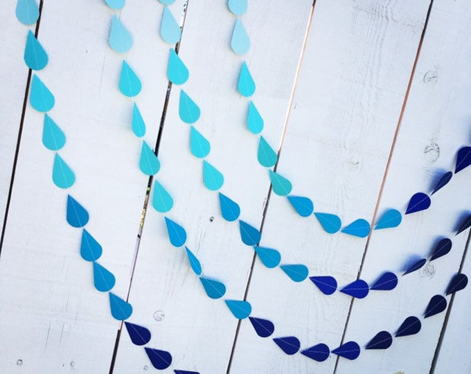 Ombre Blue Raindrop Garland for Baby or Bridal/Wedding Shower, or Sprinkle Party