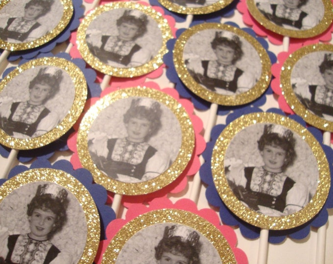 Custom glitter photo party tags and cupcake toppers