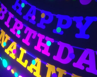 Glow party neon fluorescent HAPPY BIRTHDAY banner with polka dots