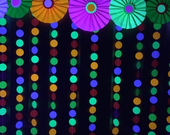 """Glow Party Decorations / Black light neon paper rosette medallions and 2"""" garlands backdrop or photo booth set"""
