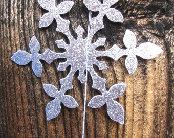 Hanging silver glitter double-sided snowflake garland set of 4 strands