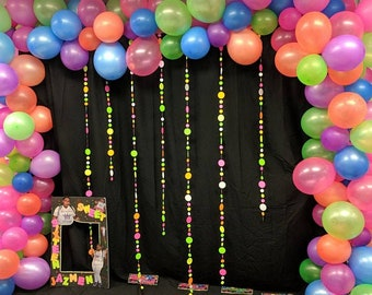 Glow Party Garlands for Neon Blacklight Party / Sweet 16 Glow in the Dark Party Backdrop / Teen Neon Dance Party Decor